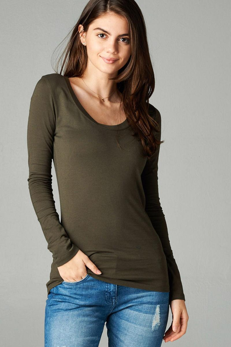 Womens T Scoop Long Sleeve Stretch Top S/M/L