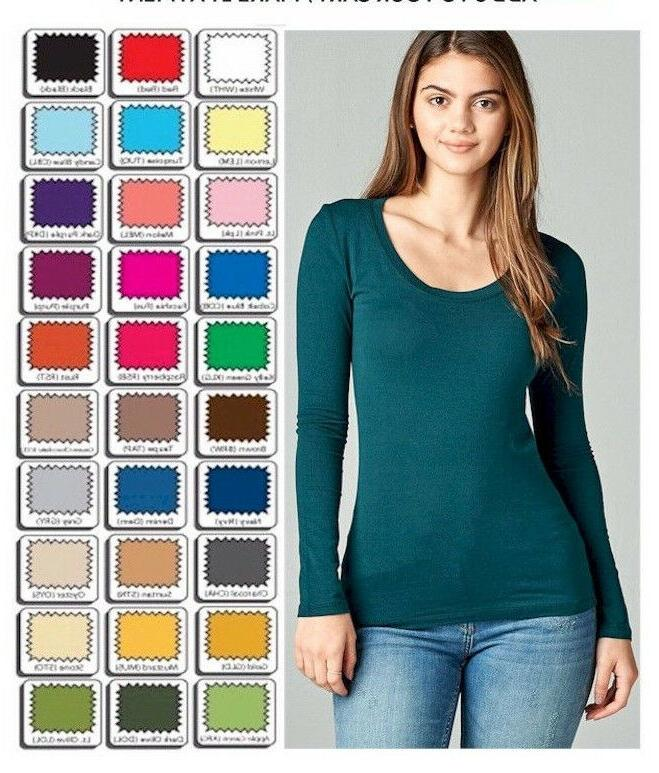 womens t shirt scoop long sleeve stretch