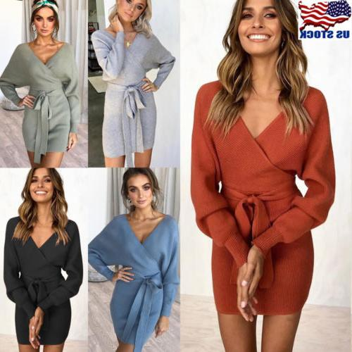 Womens Winter Dress Long Sleeve Wrap V Neck Knitted BodyCon