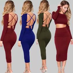 Ladies 2 piece outfits Bodycon Long Sleeve Party crop tops M