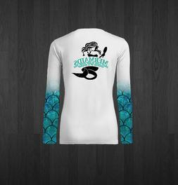 Ladies White V-Neck Mermaids Performance Fishing Shirts - BL