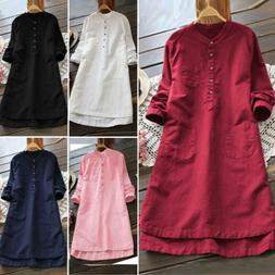 Ladies Women Summer Long Sleeve T-shirt Cotton Linen Casual