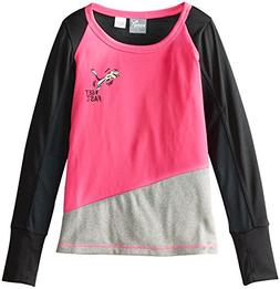 PUMA Little Girls' Lightning Long Sleeve Tee, Pink Glo, 6