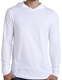 Mens Lightweight Long Sleeve Hoodie Tee Shirt, XL White