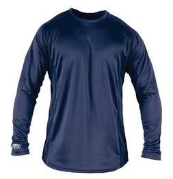 Rawlings Boy's Long Sleeve Baselayer Shirt, Navy, Large