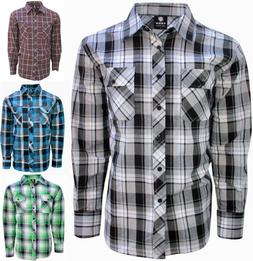 Long Sleeve, Button Down Shirt For Men- Casual, Plaid in Siz