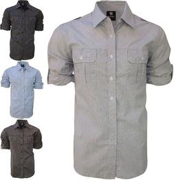 Long Sleeve, Casual Shirts for Men- Button Down with Roll Up
