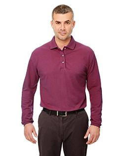 UltraClub mens Long-Sleeve Classic Pique Polo-Burgundy-L