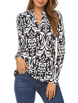 Halife Womens Long SLeeve Floral Printed Pleated V Neck Tuni