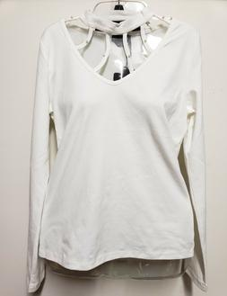 bebe Long-Sleeve High-neck Top Cut-out Studded Shirt Off-Whi