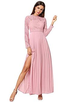Floerns Women's Long Sleeve Lace Chiffon Maxi Formal Evening