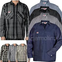 Ben Davis Long Sleeve Shirts POCKETS Hickory Stripe Solid Co
