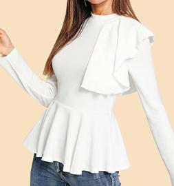 Long Sleeve Stand Collar Ruffle Peplum Elegant Blouse Top T-