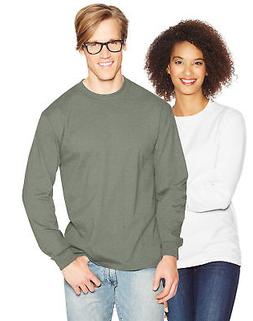 Hanes Long Sleeve T Shirt 100% Cotton Adult Beefy Tee Thicky