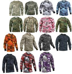 Long Sleeve T-Shirt Camo Tactical Military Crew Tee Undershi