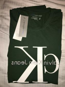 Calvin Klein Long Sleeve T Shirt Green L Premium Stretch $59