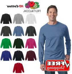 Fruit Of The Loom Long Sleeve T-Shirt HD Cotton Soft Color P
