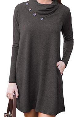 Long Sleeve Tshirt Dress with Pockets Cowl Neck Winter Casua