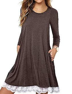 Halife Women's Long Sleeve Tunic Dress Crew Neck Loose Swing