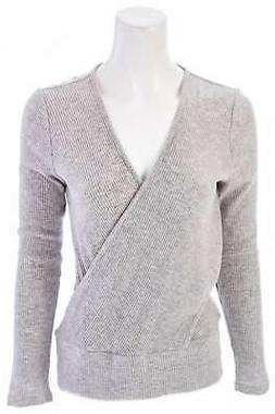 WHITE HOUSE BLACK MARKET Long Sleeve Twist Front Ribbed Top