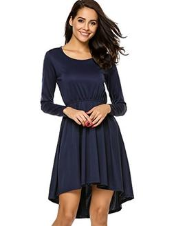 Halife Women's Loose Long Sleeve Midi Shift Below Knee Trape
