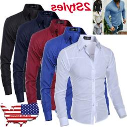 Men's Luxury Casual Formal Shirt Long Sleeve Slim Fit Busine