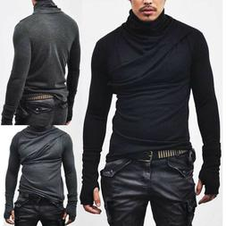 Men Boys Autumn Winter Tees Long Sleeve Slim Fit Turtleneck