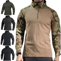 Men Camo Military T-shirt Tactical Long Sleeve Army Combat S