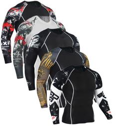 Men Compression Printed Long Sleeve T Shirt Stretch Gym Spor