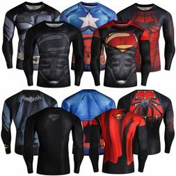 Men Compression T-Shirt Marvel Superhero Superman Top Long S