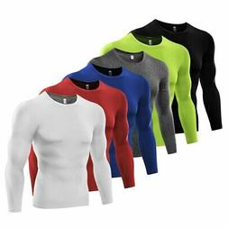 Mens Sports Gym Compression Under Base Layer Tops Long Sleev