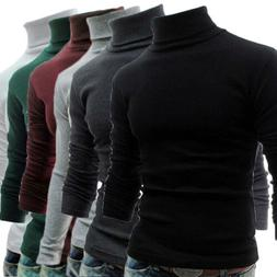 Men Long Sleeve Pullover High Neck Turtleneck Stretch Slim B