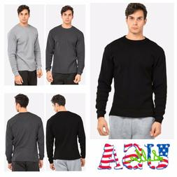 Men Long Sleeve Thermal  Shirts Casual Crew Neck Waffle Wint