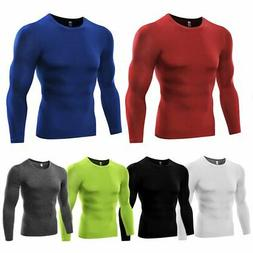 Men Quick Dry Gym Compression Under Base Layer Shirts Long S