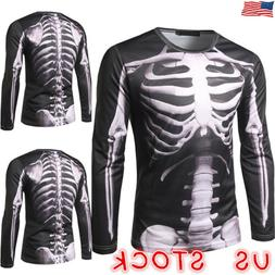 Men's Halloween T-shirt Crew Neck 3D Graphic Print Long Slee