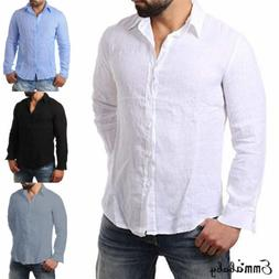 men s linen long sleeve shirt summer