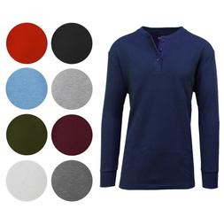 Men's Long Sleeve 3 Button Henley Waffle Knit Thermal - Unde