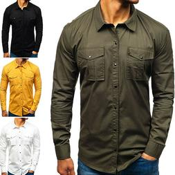 Men's Long Sleeve Cargo Casual Work Shirt Military Army Shir