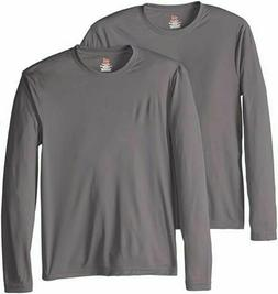 Hanes Men's Long Sleeve Cool Dri T-Shirt UPF 50+, Pack Of 2