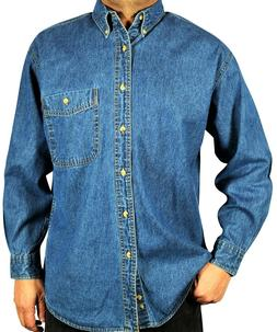 Men's Long-Sleeve Denim Shirt, Relaxed Fit Stone Washed Butt