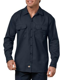 Dickies Men's Long Sleeve Heavyweight Cotton Work Shirt Bran