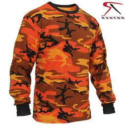 Men's Long Sleeve Orange Camo T-Shirt - Rothco Savage Orange