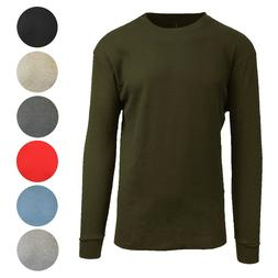 Men's Long Sleeve Waffle Thermal Shirt Tee -Crew Neck Layeri