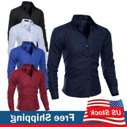 Men's Luxury Slim Fit Casual Shirt Long Sleeve Business Form