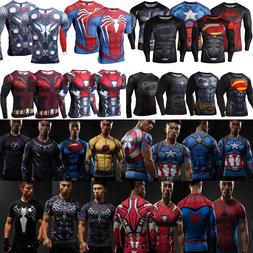 Compression Marvel Superhero Long Short Sleeve T-Shirt Men B