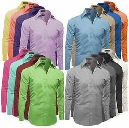 Omega Italy Men's Premium Slim Fit Button Up Long Sleeve Sol
