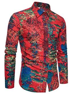 LEFTGU Men's Printed Linen Slim Fit Long Sleeve Button-Down