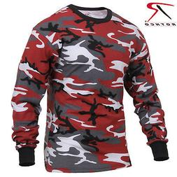 Men's Red Camo Long Sleeve T-Shirt - Rothco Colored Camo Pol