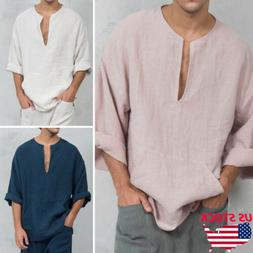 e6577f3bf Men's Summer Autumn Long Sleeve Shirts Loose V-neck Linen T-