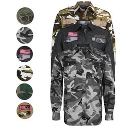 Men's US Military American Long Sleeve Button Up Camo Casual
